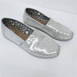 Toms Silver Glitter Sparkle Flats Size W7